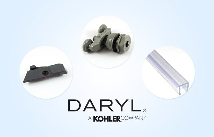 Official stockists of Daryl shower enclosure spares image 1 - We now stock compliments of guide blocks, roller assemblies and screen seals - among many other types of Daryl spares.