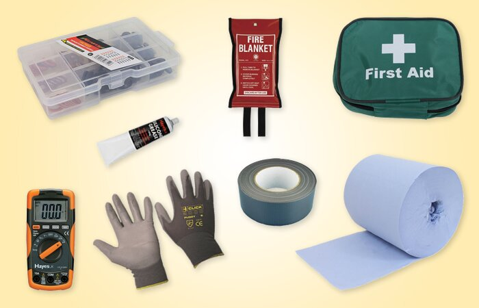Bigger and better Practical Supplies range! image 2 - Arctic Hayes offer key products such as blue roll, duct tape, silicone grease, multimeters, protective gloves, fire blankets, and a one-man First Aid kit.