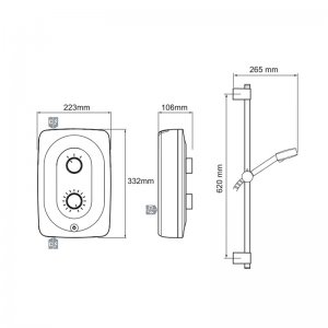 Mira Shore Electric Shower 9.5kW - White/Chrome (1.1789.002) - main image 3