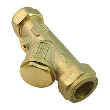 AKW 15mm compression fitting Y strain filter - brass body (25167)