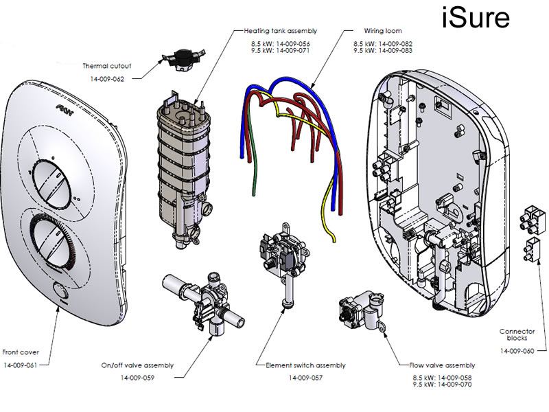 Akw Isure Electric Shower Spares Shower Spares And Parts