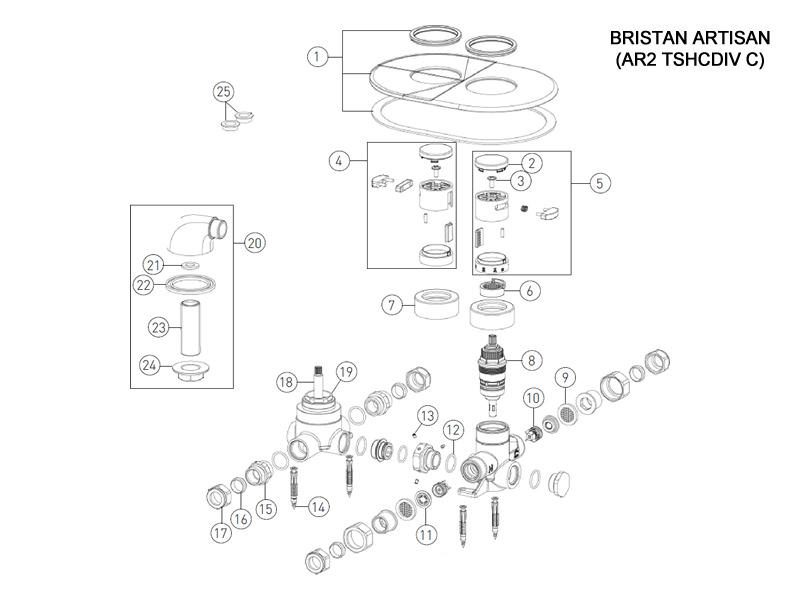 bristan artisan recessed with diverter shower spares and. Black Bedroom Furniture Sets. Home Design Ideas
