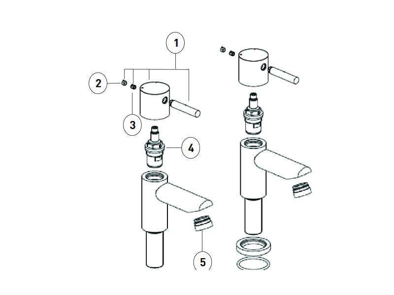 Bristan Blitz Basin Pillar Taps Shower Spares And Parts