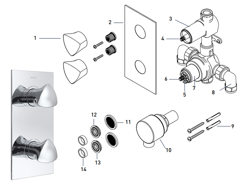 Bristan Bright Recessed Dual Control Shower Valve With Integral Two