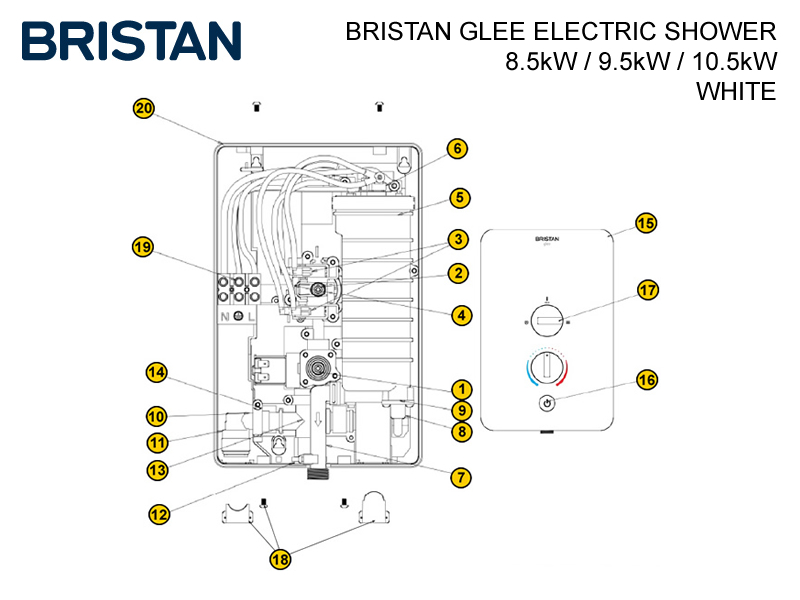 Bristan Glee Mk1 Electric Shower Shower Spares And Parts