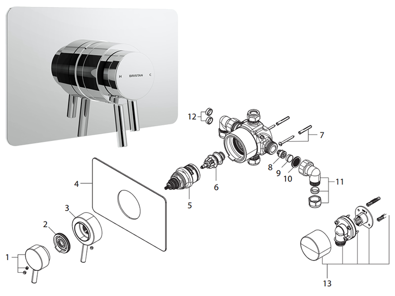 Bristan Prism Thermostatic Recessed Dual Control Shower
