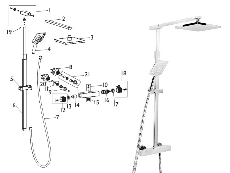 bristan quadrato bar mixer shower with diverter shower. Black Bedroom Furniture Sets. Home Design Ideas