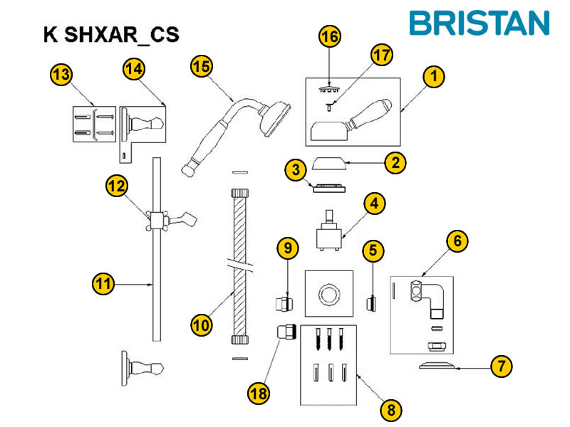 Bristan Colonial Manual Exposed Shower Spares And Parts