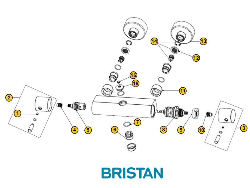 shower spares for bristan prism bar