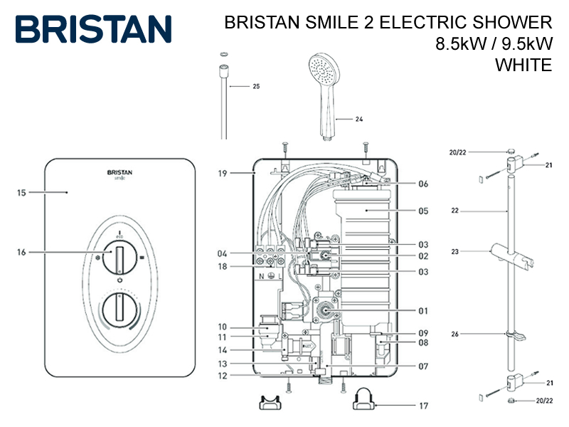 Shower Spares For Bristan Smile 2 Electric Shower
