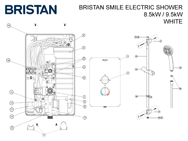 Bristan Smile Electric Shower Shower Spares And Parts