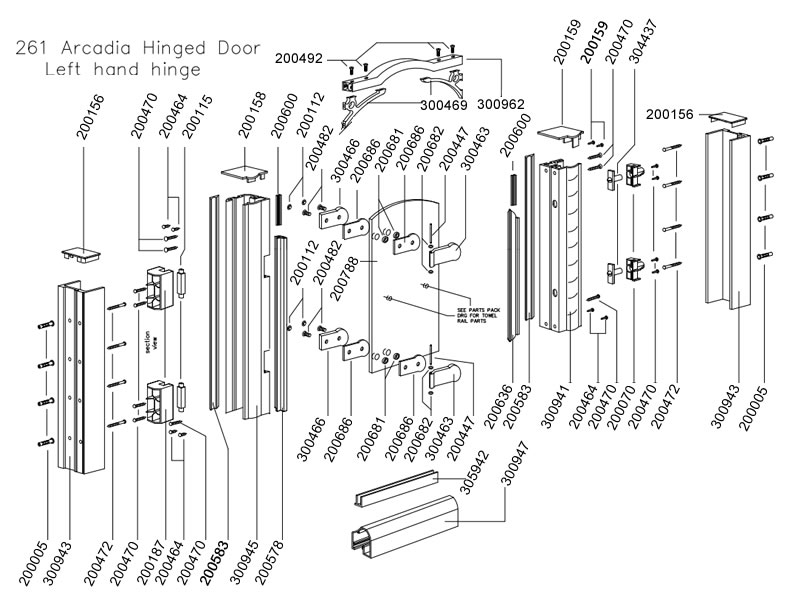 Daryl Arcadia 261 Hinged Door Shower Spares And Parts