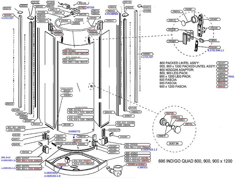 Daryl Indigo 696 Quadrant Door Shower Spares And Parts