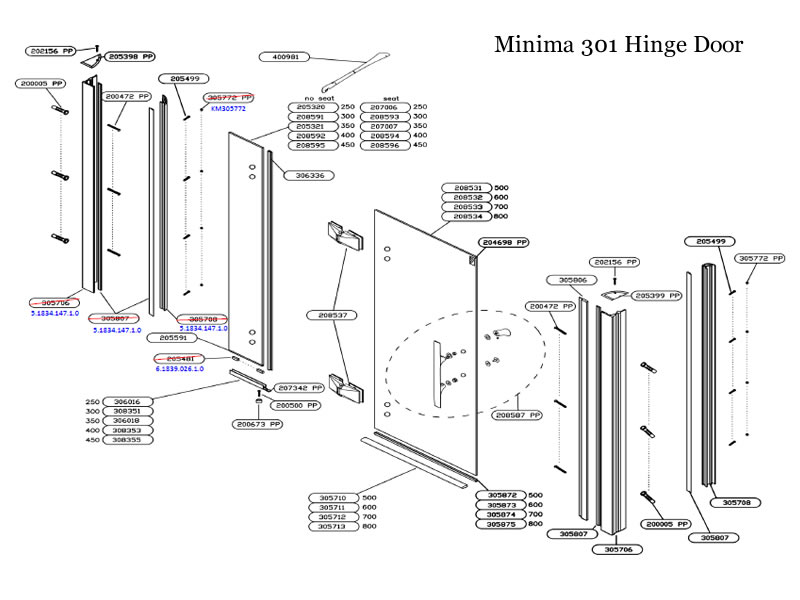 Daryl Minima 301 Hinge Door Shower Spares And Parts