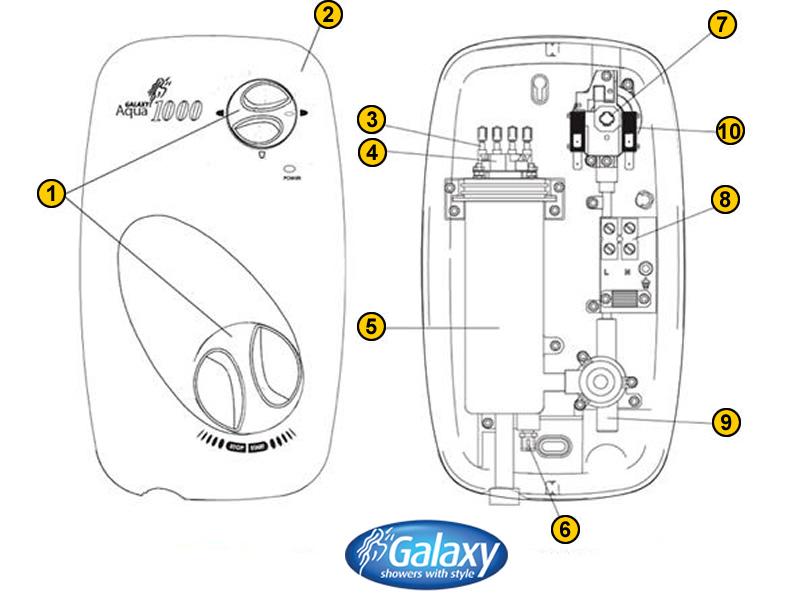 Shower spares for Galaxy Aqua 1000   Galaxy Aqua 1000   National ...