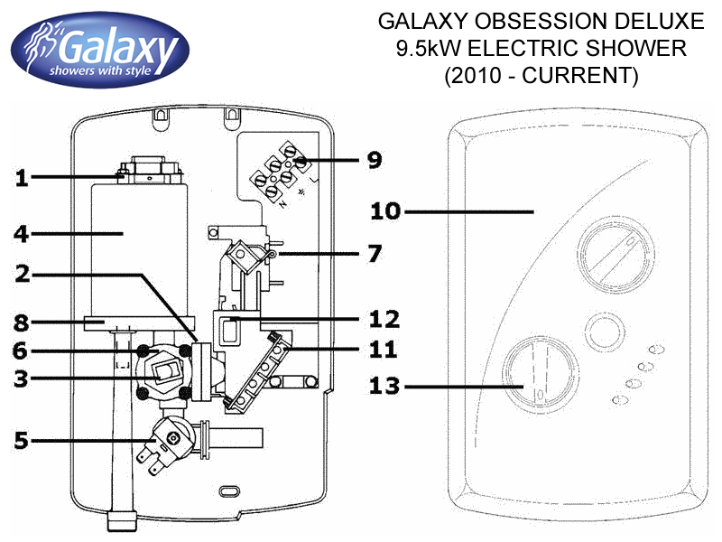 Shower Spares For Galaxy Obsession Deluxe 9 5kw Electric