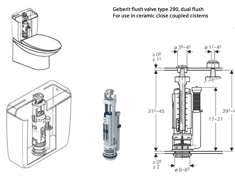 Geberit Close Coupled Ceramic Toilet Cistern Spares Breakdown Diagram
