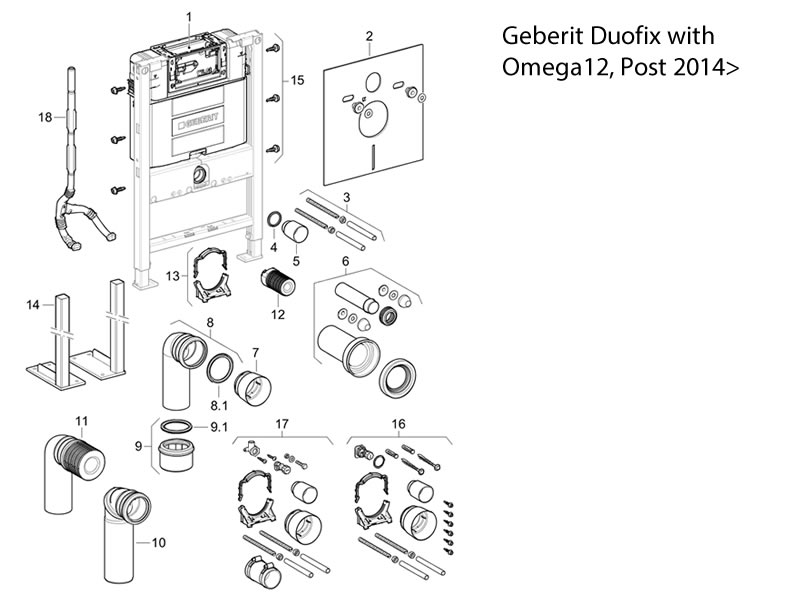 toilet spares for geberit duofix with omega 12 cistern