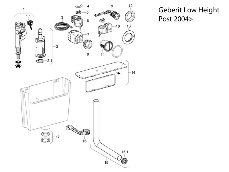Geberit Low Height Cistern Post 2004 Toilet Spares And