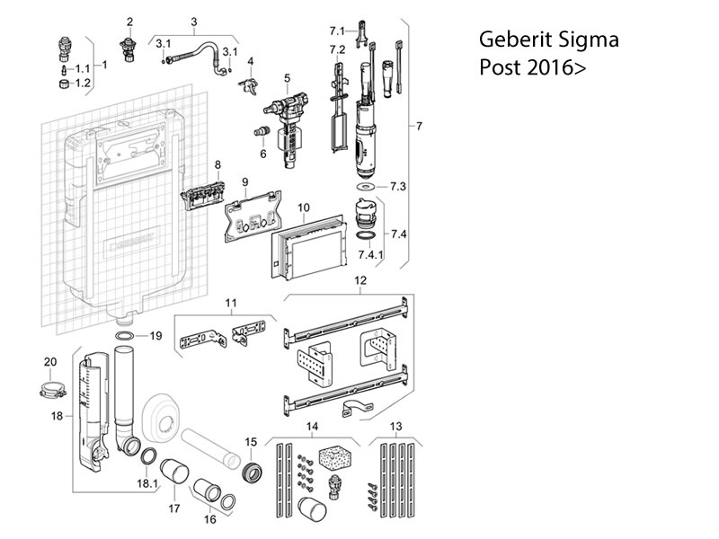 toilet spares for geberit sigma cistern 8cm
