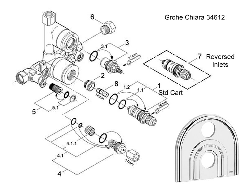 Grohe Thermostatic Shower Valve Parts.Grohe Chiara Thermostatic Shower Valve Shower Spares And