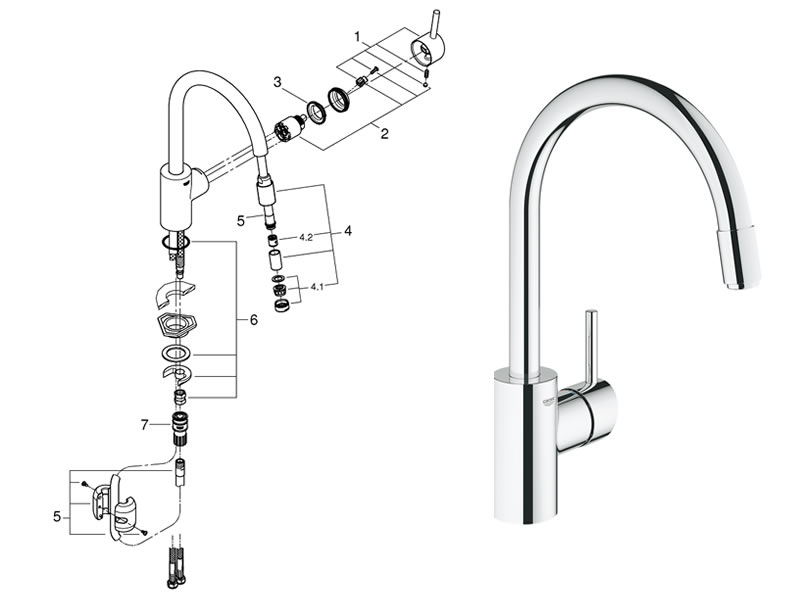 Grohe Pull Out Kitchen Faucet Parts