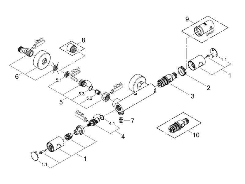 grohe grohtherm 1000 cosmopolitan bar valve 1 2 shower. Black Bedroom Furniture Sets. Home Design Ideas