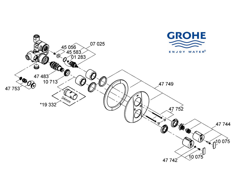Grohe Grohtherm Auto 2000 - 34235 000 (34235 000) spares breakdown diagram