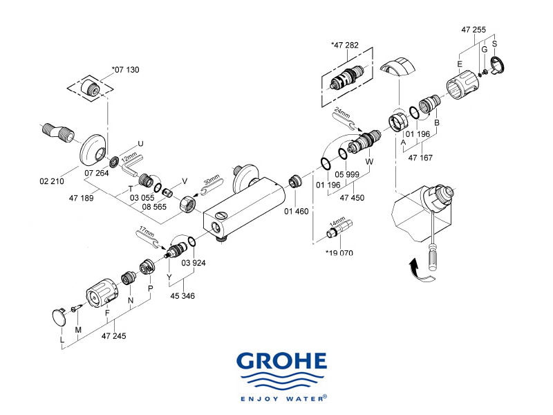 shower spares for grohe grohtherm auto 2000 34650 000 bar valve grohe 34650 000 national. Black Bedroom Furniture Sets. Home Design Ideas