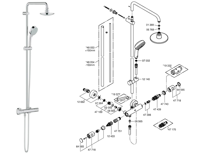 Grohe Tempesta Cosmopolitan System 160 Bar Mixer Shower Shower Spares And Parts
