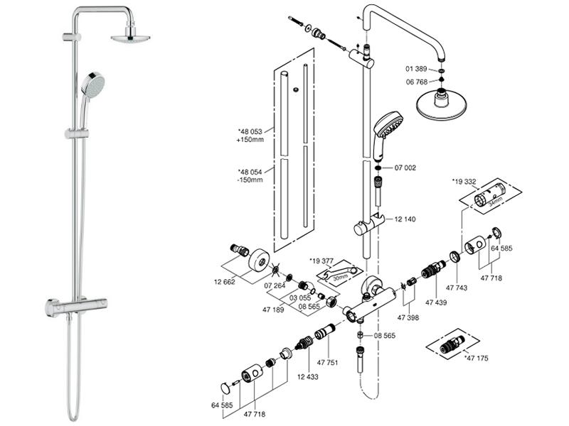 grohe tempesta cosmopolitan system 160 shower spares and. Black Bedroom Furniture Sets. Home Design Ideas