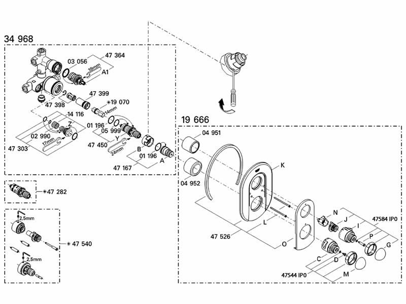 Grohe 19666 Sentosa Bath Shower valve trimset shower spares and ...