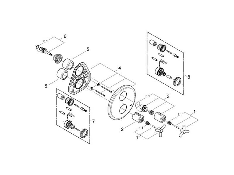 Grohe Atrio Ypsilon Thermo Shower Valve Trimset Shower Spares And