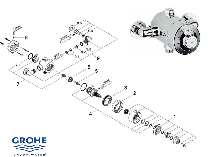Grohe Shower Parts. Grohe Head Showers Ans Arms. Full ...