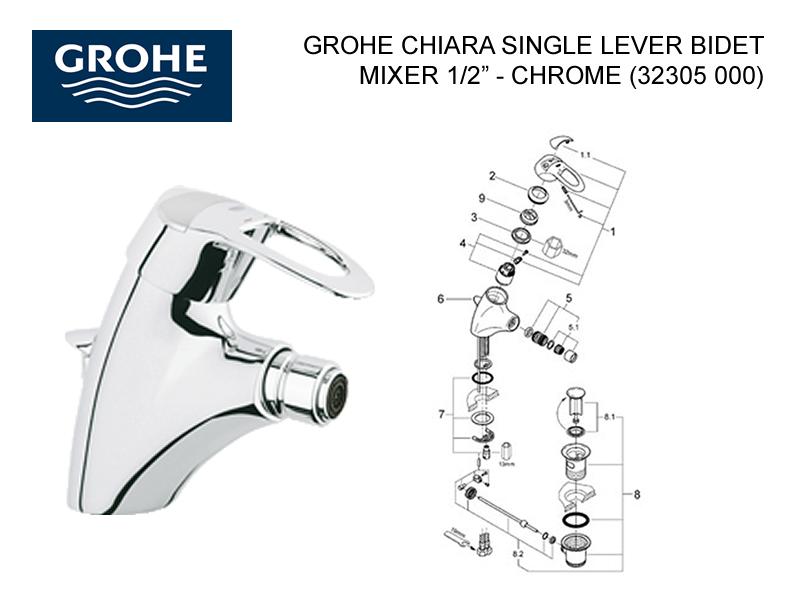 Shower Spares For Grohe Chiara Single Lever Bidet Mixer 1 2