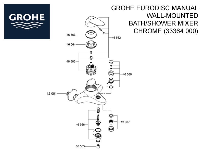 Grohe Eurodisc Manual Wall-Mounted Bath/Shower Mixer - Chrome shower