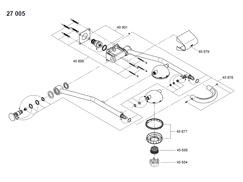 Grohe Freehander 27005 Recessed Feed Shower Spares And Parts
