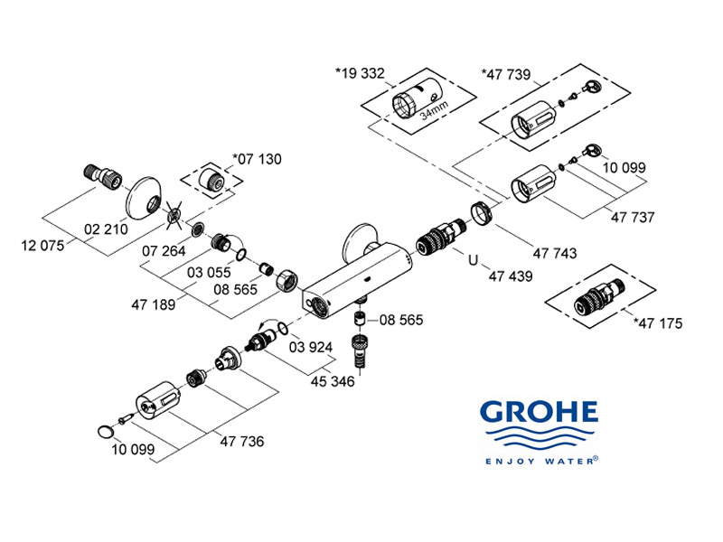 Fabulous Grohe Grohtherm Auto 1000 shower spares and parts | Grohe 34143  QE34