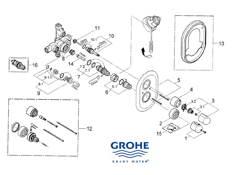 shower spares for grohe grohtherm auto 1000 grohe 34328 000 national shower spares. Black Bedroom Furniture Sets. Home Design Ideas