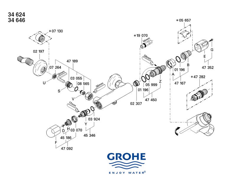 Grohe Grohtherm Auto 1000 Shower Spares And Parts Grohe 34624 000 National Shower Spares