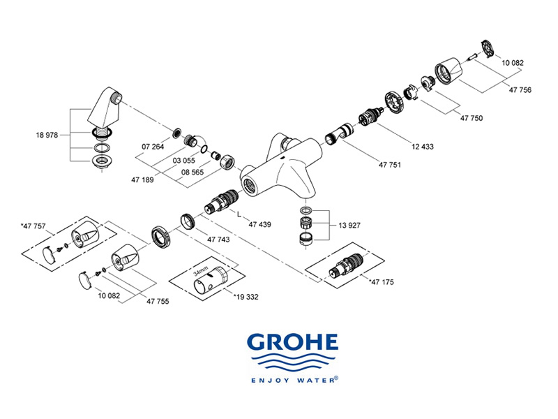 shower spares for grohe grohtherm auto 3000 grohe 34188 000 national shower spares. Black Bedroom Furniture Sets. Home Design Ideas
