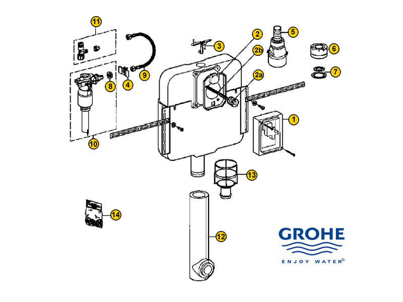 toilet spares for grohe mechanical cistern 37050 000. Black Bedroom Furniture Sets. Home Design Ideas