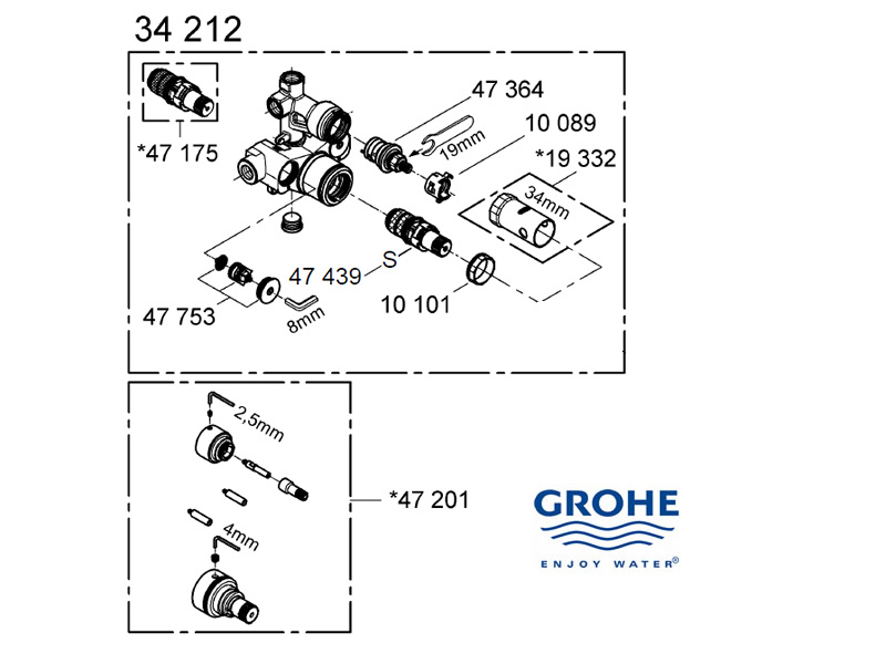 Grohe mixer valve - 34212 000 shower spares and parts | Grohe 34212 ...