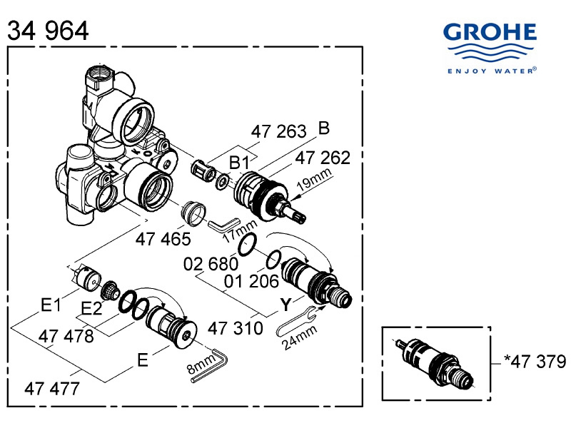 Shower spares for Grohe mixer valve - 34964 000 | Grohe 34964 000 ...