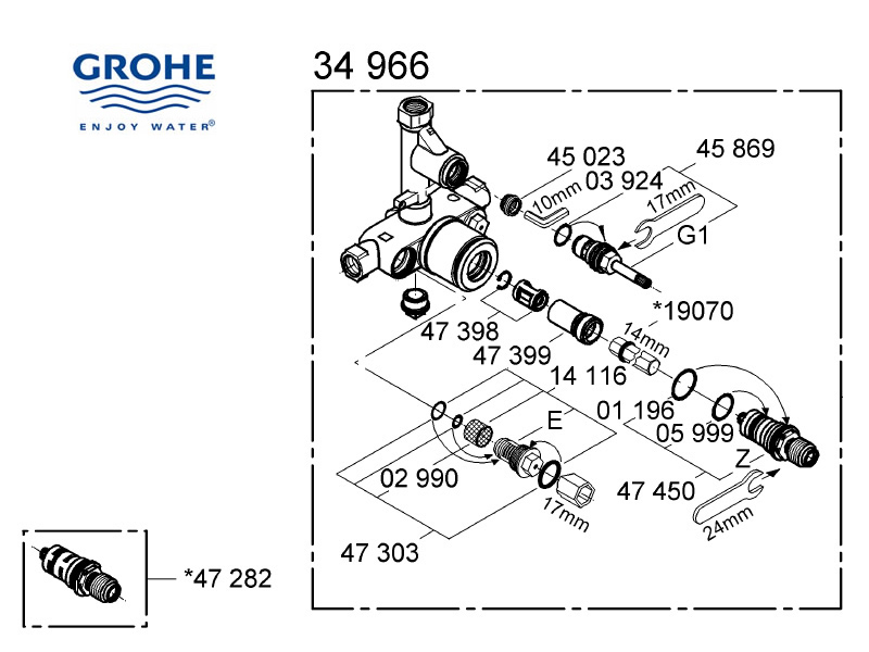 Shower spares for Grohe mixer valve - 34966 000 | Grohe 34966 000 ...