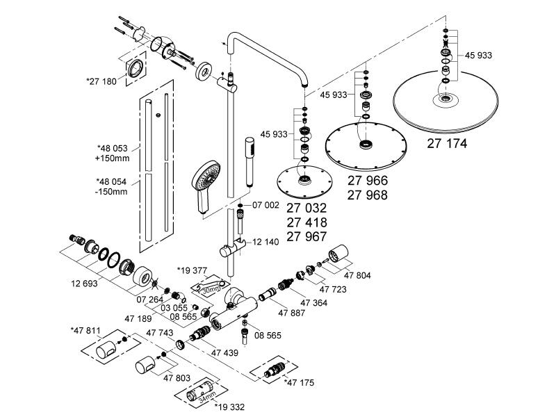 grohe rainshower system 210 bar mixer shower shower spares and parts  grohe rainshower system 210 bar mixer shower (27032 001) spares breakdown diagram