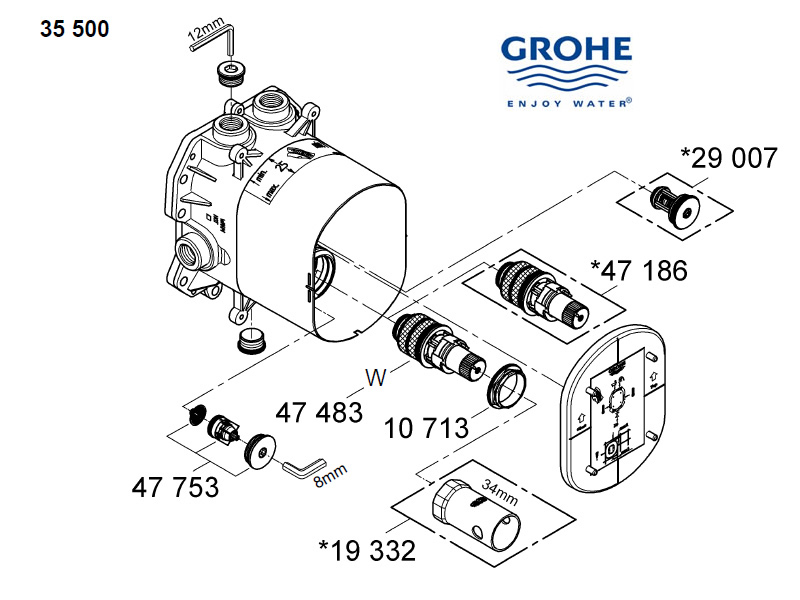 Shower spares for Grohe Rapido T universal thermostatic mixer valve ...