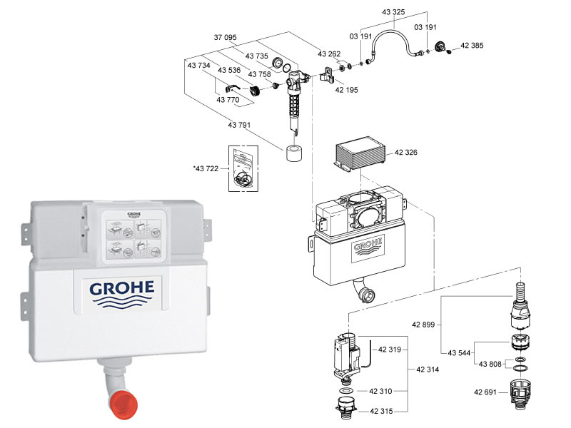 Grohe Wc Concealed Cistern Shower Spares And Parts Grohe 38422 000 Nation