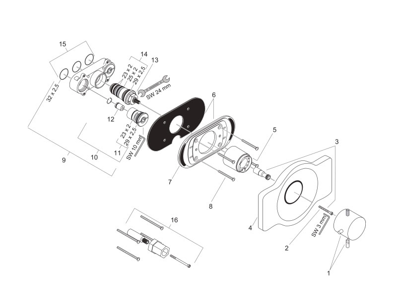 Shower spares for Hansgrohe Axor Starck (Ecostat ibox) | Hansgrohe ...