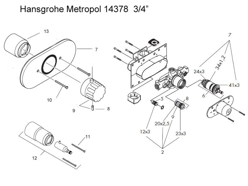 Hansgrohe Metropol 34 Shower Valve Shower Spares And Parts